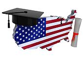 united states maps with Graduation Cap and Diploma