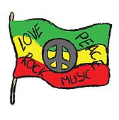 doodle grunge flag peace, love