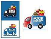 Logo design element Fast food delivery service