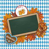 Oktoberfest Blackboard Foliage Pretzel Beer Emblem