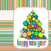 Christmas balls on tree Eve. New Year abstract background