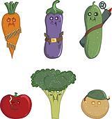 Carrots, eggplant, cucumber, tomato