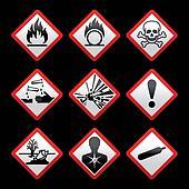 New safety symbols Hazard signs Black background