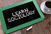 Handwritten Learn Sociology on a Chalkboard.