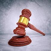 Wooden judge gavel and soundboard