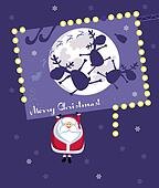 Comic Santa hanging on christmas billboard. Vector illustration