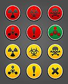 Set symbols hazard Safety sign