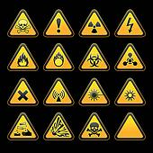 Set triangular warning signs Hazard