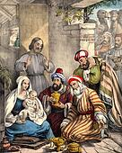 Wise men bring gifts to Baby Jesus