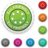 Eco friendly award button.