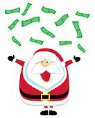 Cartoon Santa catching  falling dollar bills. Vector illustration