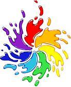 Rainbow splash with swirl.