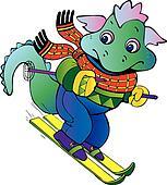 Baby dragon-skier.