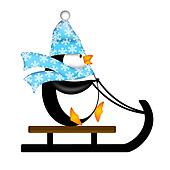 Cute Penguin on Sled Illustration