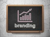 Marketing concept: Growth Graph and Branding on chalkboard background