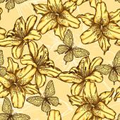 seamless background with yellow lilies and butterflies.