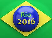 3d Brazil flag with rio 2016