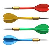 Set of color darts