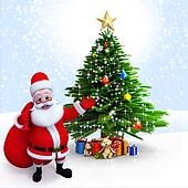 Santa claus pointing to a Xmas tree