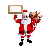 Santa Claus with wooden sign board