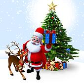 Santa with reindeer and gift box