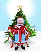 Santa Claus with a big gift box.