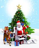 Santa & Christmas tree,gift list