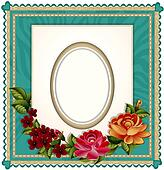 of the background with an oval frame for the photo and roses