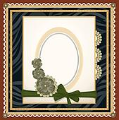 background with an oval frame for the photo , flowers and lace