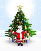 Santa claus with bell & xmas tree
