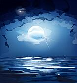 dark blue night sky, the moon and the sea