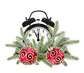 Green Christmas tree, decorative red balls and alarm clock isolated on white