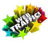 The words Web Traffic surrounded by stars to illustrate increasing your online reputation and search engine optimization to attract new visitors, readers and customers to your website