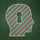 Finance concept: Head With Keyhole on chalkboard background