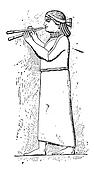 Assyrian eunuch playing a double flute, vintage engraving.