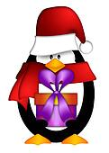 Penguin with Santa Hat with Present Clipart