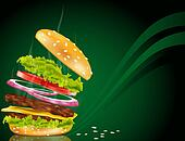 steaming hamburger with cheese, onion and rissole on a green background