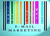 E-mail Marketing word on colored barcode