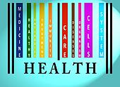 Health word on colored barcode
