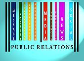 Public Relations word on colored barcode