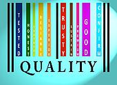 Quality word on colored barcode