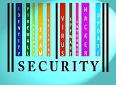 Security word on colored barcode