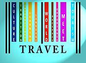 Travel word on colored barcode