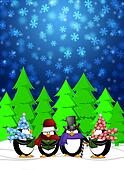 Penguins Carolers Singing Christmas Songs with Snowing Winter Scene Illustration