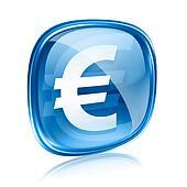 Euro icon blue glass, isolated on white background