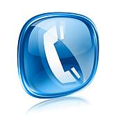 phone icon blue glass, isolated on white background.
