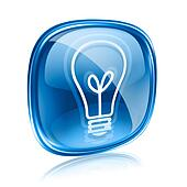 Light bulb Icon blue glass, isolated on white background