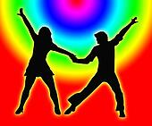 Color Circles Dancing Couple 70s