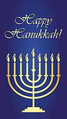 Vector Hanukkah wish card
