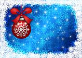 Hanging Red Christmas Tree Ornament with Snowflakes Border and Blue Blurred Background Illustration